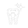 Icon of a tooth with clear style braces, showing that ceramic braces from a Seattle orthodontist, are a translucent alternative to traditional braces.