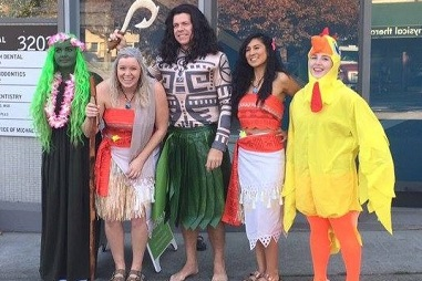 The Nelson Orthodontic team dressed as characters from Moana cartoon.