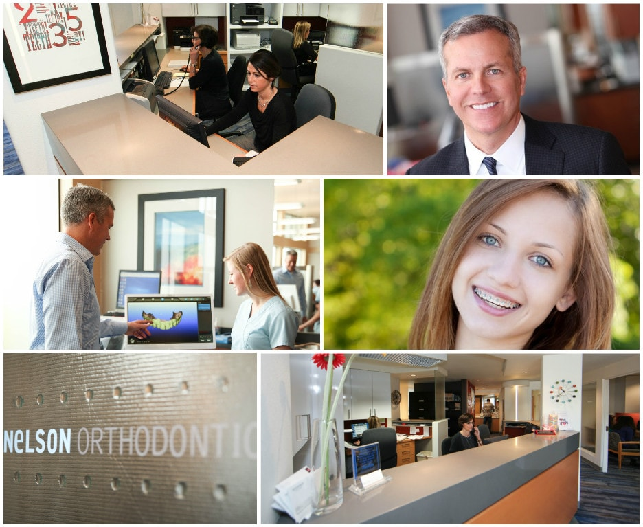 A collage of images showcasing Nelson Orthodontics office, staff, and patients.