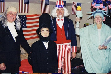 The team at Nelson Orthodontics dressed up as various presidents, Ben Franklin, and The Statue of Liberty.