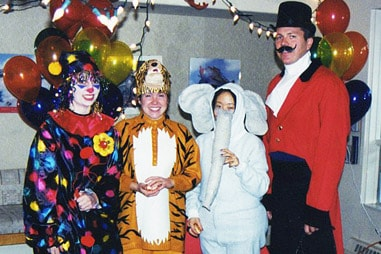 The team at Nelson Orthodontics dressed up for Halloween as circus animals and performers.