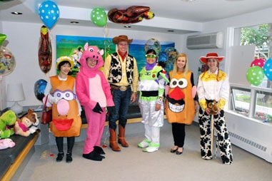 The team at Nelson Orthodontics dressed up as the cast of Toy Story.